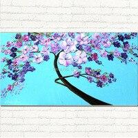 Dipinto a mano moder grandi dimensioni blu e puprl bianco spatola fiore pittura a olio su tela 60X120 CM per decorazione della parete