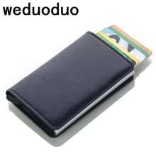 Weduoduo 2019 Men And Women Credit Card Holder RFID Aluminium Business Card Holder Crazy Horse PU Leather Travel Card Wallet(China)