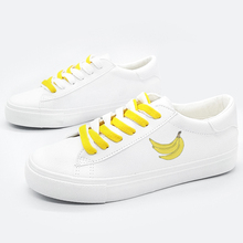 Yellow Banana Printed Classic Women Sneakers Casual Low Cut Shoes Flats zapatos de mujer e lov vintage design postage stamp and emblem printed canvas shoes high end customzied women casual flats zapatos mujer