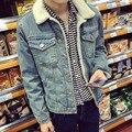 2016 Otoño Invierno Nuevos Hombres De Piel Forro de Lana Chaqueta de Moda chaqueta de Motocicleta Slim Fit Jean Denim Jacket Coat Estrenar Del Envío gratis