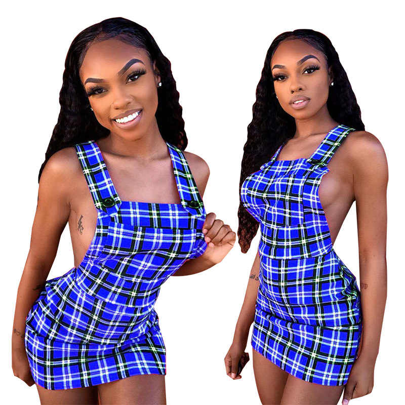 2019 женское летнее платье на бретельках без рукавов с открытой спиной выше колена в клетку облегающее платье миди сексуальное для вечеринок ночное белье HM6105