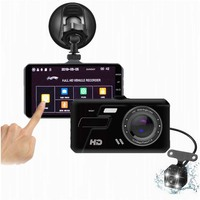 Car DVR 4 Inch Touch Screen Full HD 1080P Recorder Video G sensor Night Vision Dual Lens With Rear View camera Dash Cam 5