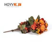 HOYVJOY Artificial Flowers Home Decoration  Fake Maple Leaves Pumpkin Decor Dired Plants Flower