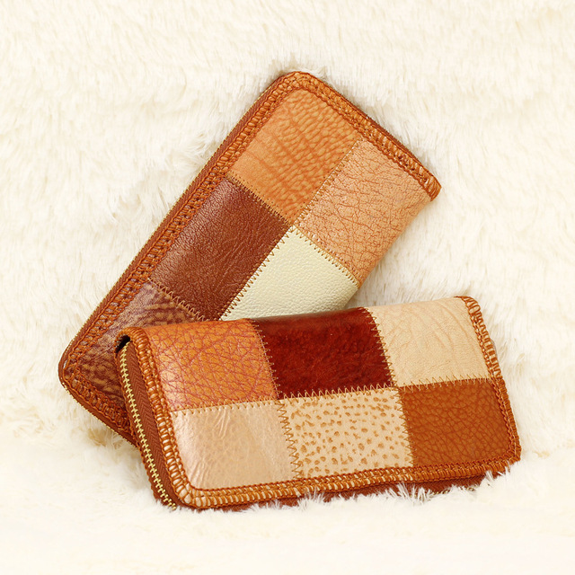 2016 women wallets brand design high quality Vintage Design leather women zipper wallet Splice  Ladies Coin Purse