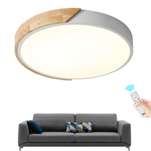 Ultra-thin LED 5cm Ceiling Light Modern Solid wood Lamp Surface Mount Flush Panel Remote Control for Foyer Bedroom