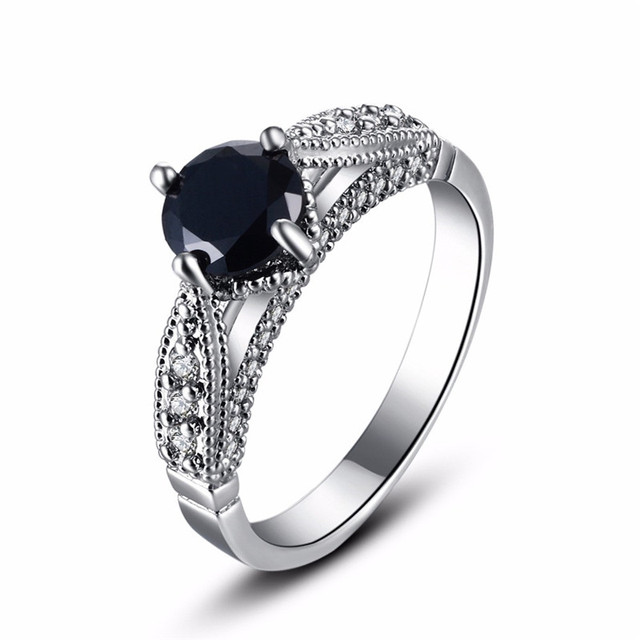 grande premium engagement black wedding stones cz setting cut three rhodium rings set stone prong products emerald plated ring