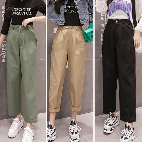 Tingyili Pantalones Cargo Mujer Otono Invierno Alta Cintura Ejercito Verde Caqui Negro Pantalones De Cintura Alta Pantalones Y Pantalones Capri Aliexpress