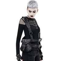 INONE Women Men Unisex Vintage Steampunk Leg Steam Punk Retro Rock Retro Goth Shoulder Waist Bags Backpacks Motorcycle Vest Bag