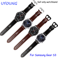 Для Samsung Gear S3 Классический/Forntier Браслеты 22 мм Натуральная Кожа группа Смотреть Черный Smart Watch Браслет Для Мужчин