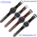For Samsung Gear S3 Classic/Forntier Wristbands 22mm Genuine Leather Watch band Black Smart Watch Bracelet For Men