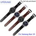 Para samsung gear clássico s3/forntier pulseiras 22mm faixa de relógio de couro genuíno preto smart watch pulseira para homens