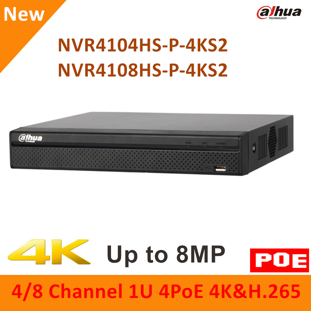 Original Dahua 4K 4PoE NVR4104HS-P-4KS2 NVR4108HS-P-4KS2 4 Channel 8 Channel Compact 1U H.265 Lite Network Video Recorder