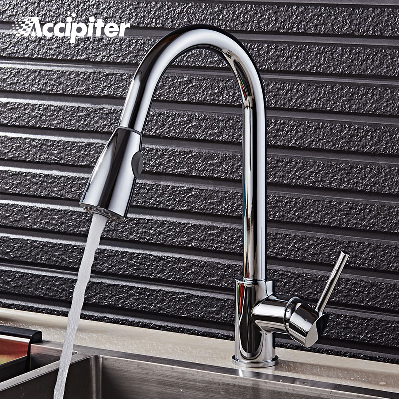 360 Degree Swivel Pull Out Black Kitchen Faucet Chrome Brass 2 Functions Mixer Sink Gold kitchen