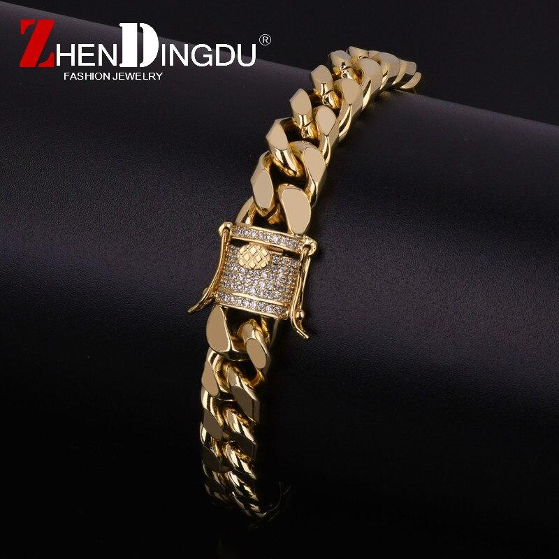 11mm Iced Out Zircon Cuban Chain Bracelet Men S Hip Hop