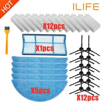 REPUESTO ILIFE accesorios filtro Hepa filtro Net Cepillo Lateral Mop para ILIFE V3 V3s V5 V5s V5s pro piezas de robot aspirador