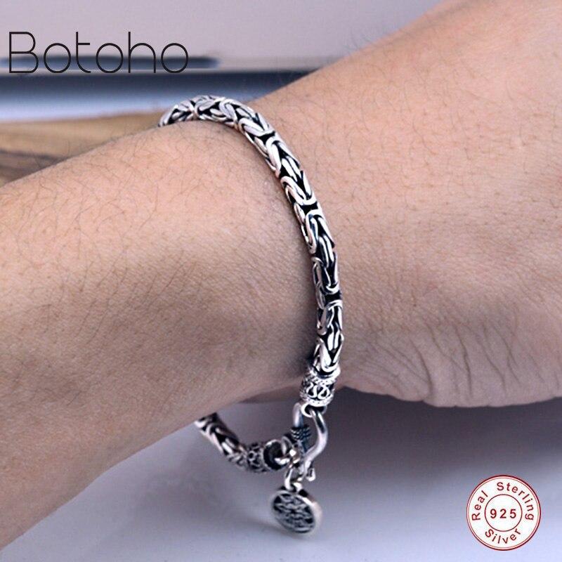 925Sterling silver bracelet Men 100% Genuine Pure 925 Sterling Silver Thick Men's Bracelet Safety Pattern Bracelet Men bracelets mens bracelets 2018 bracelet men silver 925 big bracelet