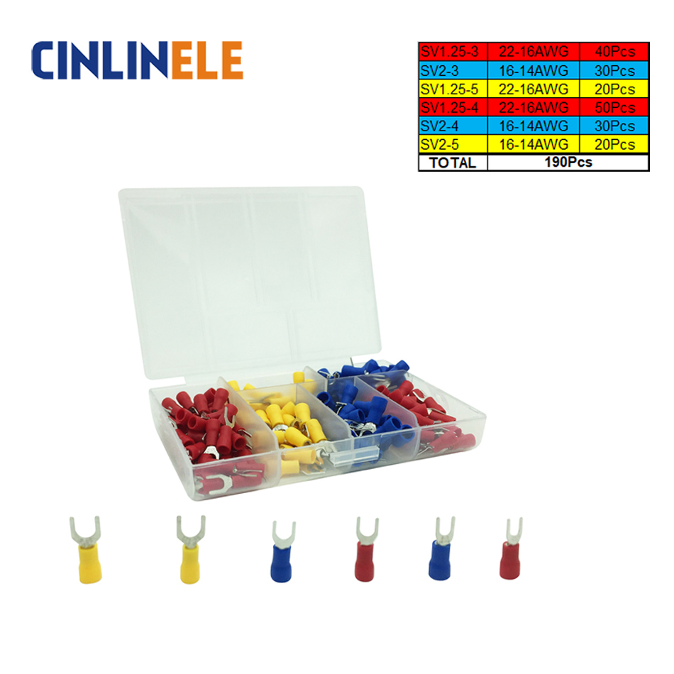 190pcs/lot 6-different Crimp Terminal Fork Spade connector kit set Wire Copper Crimp Connector Insulated Cord Pin End Terminal high quality l15y 20pcs 6 3mm copper male wire splice crimp terminal spade connector
