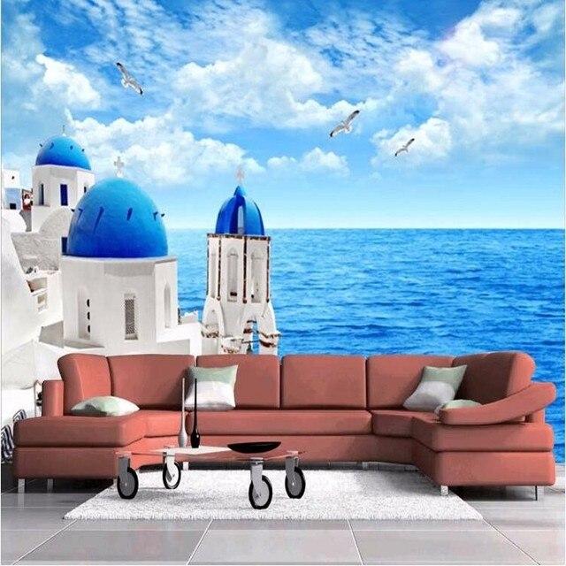 Beibehang carta da parati 3d photo divano del soggiorno Grecia Mar ...