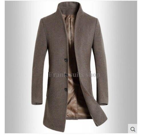 2017 Maßgeschneiderte Herren Winter Mens Fashion Wolle Stehkragen Langen Mantel Schlank Jacken Graben Outwear Parkas KöStlich Im Geschmack
