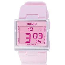 Multiple Time Zone colors Fashion watches ,100M waterproof Square women watch ,LED Multifunction digital watch relogio feminino