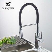 Кухня кран черный и хромированной отделкой вытащить на бортике смеситель двойной форсунки нержавеющей 304 водопроводной воды Yanjun 6651