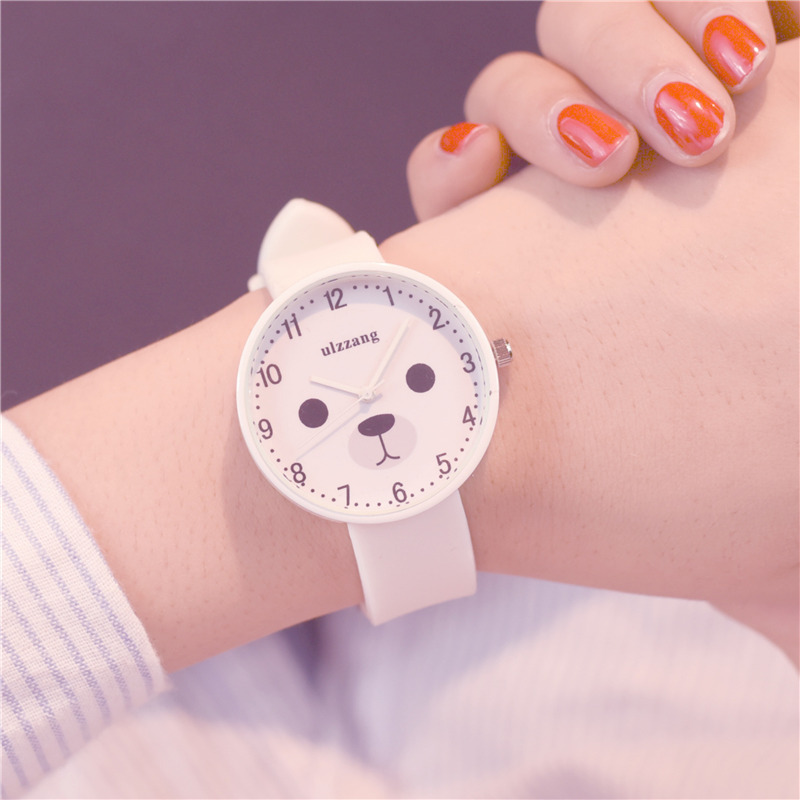 Ulzzang Fashion Brand Lovely Bear Cartoon Kids Watches Comfortable Silicone Children Quartz Watch Simple Girls Wristwatches