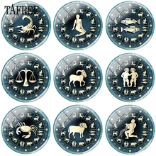 TAFREE Constellations Libra Scorpio Sagittarius Capricornus Aquarius Pisces Glass Cabochon Dome Flat Back Making Findings Beads
