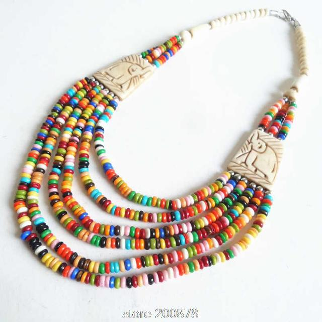 ff87d9e1d TNL363 Tibetan Necklace Yak beaded Rainbow Necklace Multi Strands ethnic  fashion Boho necklaces