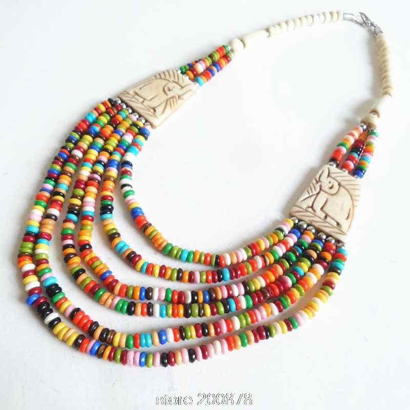 TNL363 Tibetan Necklace Yak beaded Rainbow Necklace Multi Strands ethnic fashion Boho necklaces