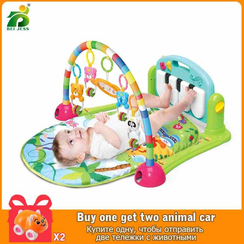 Multifunction Children Fitness Rack Baby Cradle Music Piano Light Intellectual Development Gym Mat BEI JESS