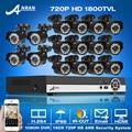 Nueva Llegada! 16CH HDMI Sistema de Video Vigilancia y 1080N HD 720 P 1800TVL IR CCTV Al Aire Libre + Cubierta Impermeable Kits de cámara de Alerta de Correo Electrónico