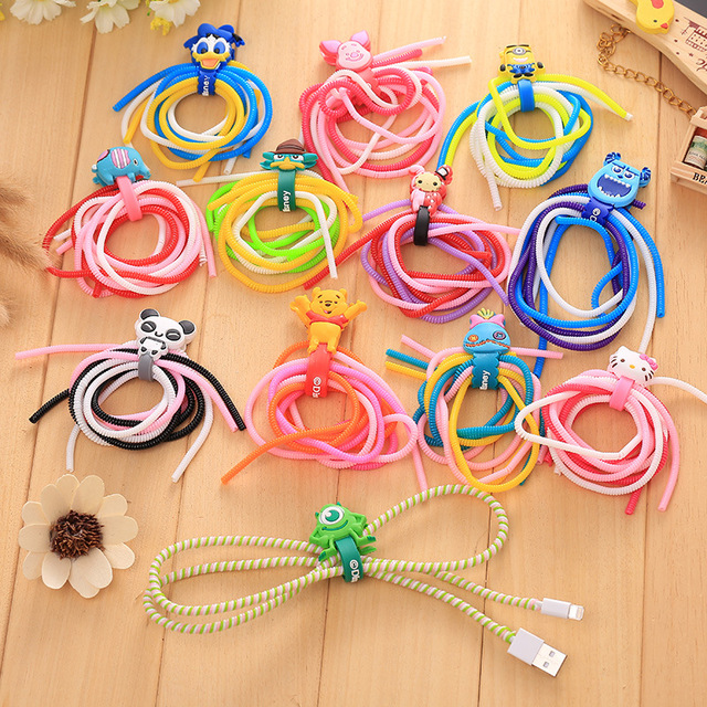 30 Sets 1pc Cartoon Cable Winder 3pcs Spring Protective Sleeve Cable Tie Spiral Cord Protector for