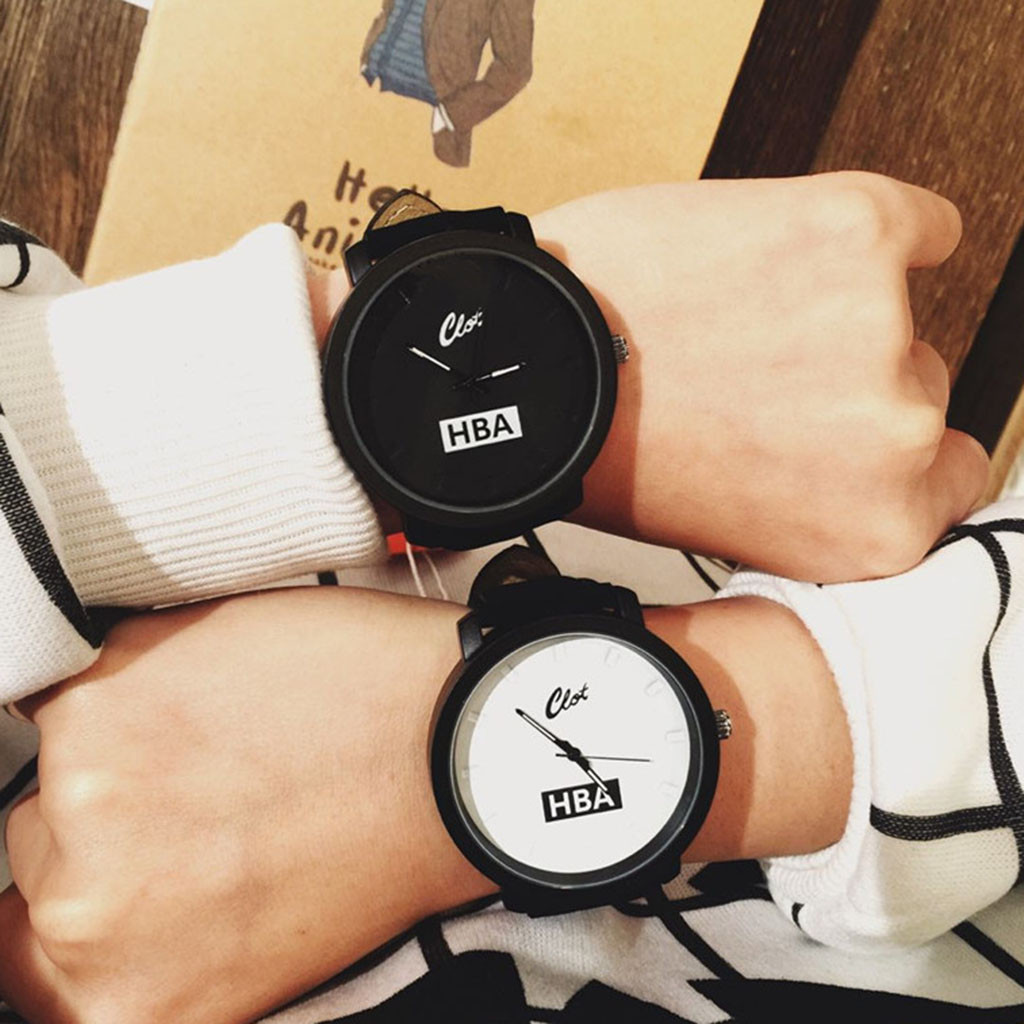Black White Lovers' Watch Fashion Leather Band Wrist Watches Men Women Sport Clocks Casual Quartz Watch Relojes Hombre /PT