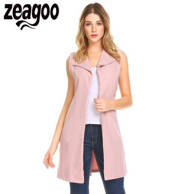 101a17f7cf2e41 Zeagoo Autumn Vest Women femme Lapel Sleeveless Open Front Casual Long Suit  Vest with Belt chaleco mujer chaleco mujer 2018
