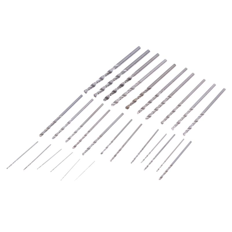 28Pcs Mini HSS Twist Hand Drill Bits Set 0.3-3.0mm Hand Tools Drills For PCB Crafts Thin Aluminum Iron Sheet Plastic 13pcs lot hss high speed steel drill bit set 1 4 hex shank 1 5 6 5mm free shipping hss twist drill bits set for power tools