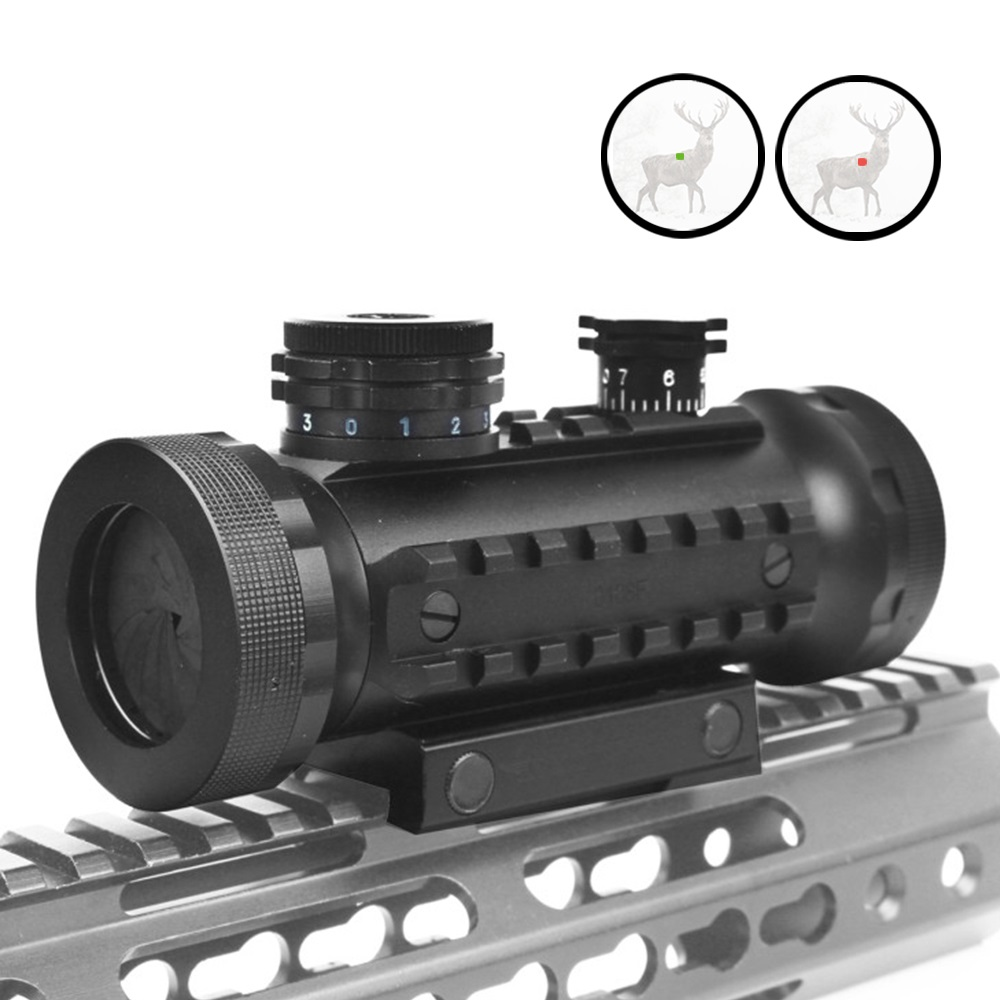 Tactical 1X30 Red Green illumination Adjustable Hunting Scope With Rails Mount Tactical Optical Riflescope Red Dot Sight Air GunTactical 1X30 Red Green illumination Adjustable Hunting Scope With Rails Mount Tactical Optical Riflescope Red Dot Sight Air Gun