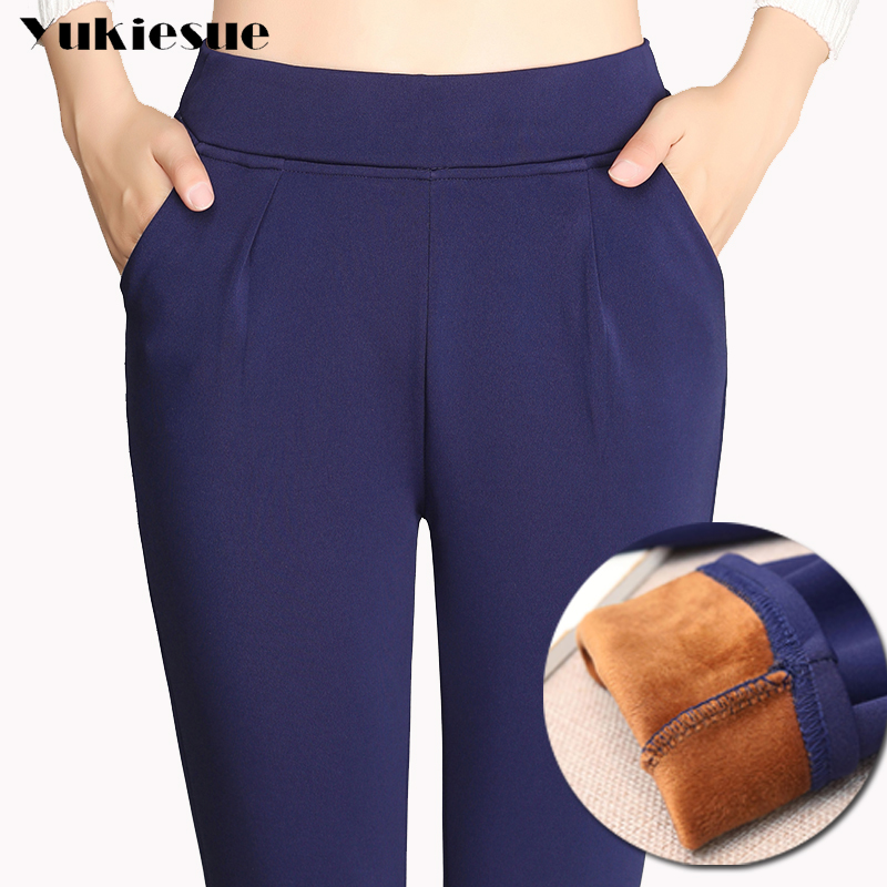 High waist trousers women 2018 winter warm fleece thick elastic waist stretch hip hop casual pants capri female harem pants