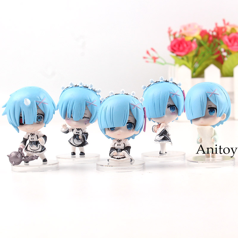 Re:Zero Re:Life In A Different World From Zero Rem Q Version Mini Kawaii PVC Anime Figure Rem Collection Model Toys 5pcs/set