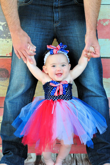 Patriotic 4th Of July Baby Tutu Dress Red White Blue Summer