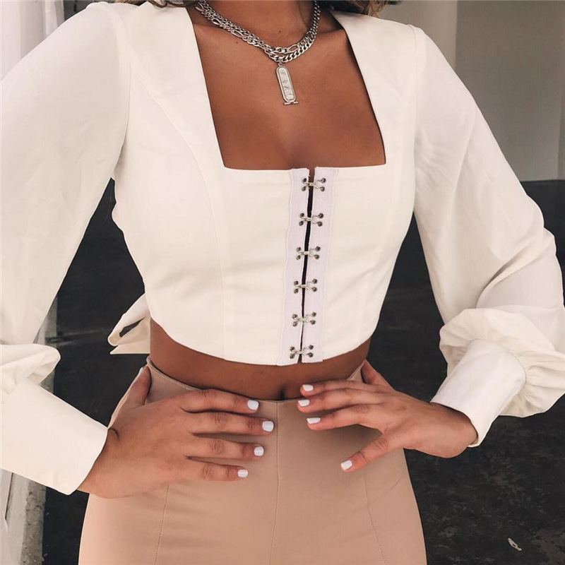 Mujeres Camisas Blanco Streetwear Negro Cuello rojo 2018 Blusa Ursohot Red Verano Tops Back blanco Vendaje azul Manga Open Cuadrado Lantern Moda wine Recortado w0wYqZ