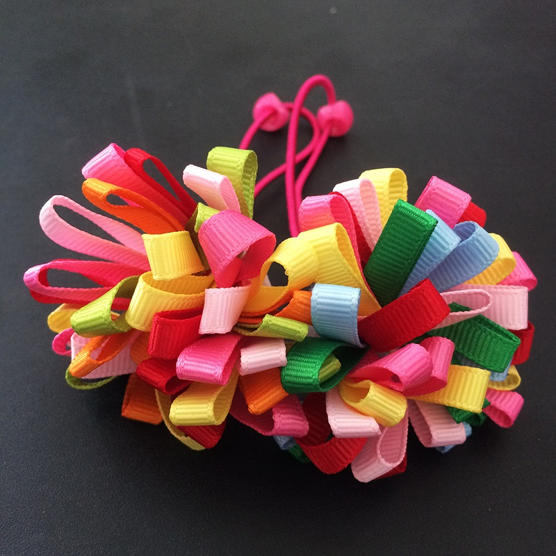 1 Pcs/lot New Colorfully Boutique Bows Elastic Girl Hair Band Woman Hair Accessories Ribbon Bow Hair Tie Rope Hair Band 10pcs sweet diy boutique bow headbands elastic head band children girl hair accessories headwear wholesale
