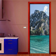Creative 2Pcs/Set  Mountain Sea Scenery Art Decor Home DIY Door Stickers Pattern for Wall Room Home Door Decor Decoration tree shaded trail pattern door art stickers