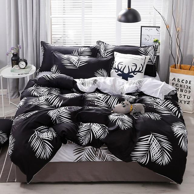 BEST.WENSD 2019 Deluxe flat bedspread flower bedding Black leaves duvet cover+bed sheet+pillowcase egyptian cotton ropa de cama