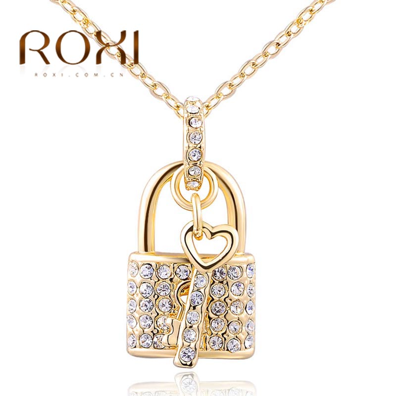 ROXI Long Necklaces & Pendants Love Lock&Key Crystal Chain Rose Gold 2018 Collares Mujer Statement Necklace collares