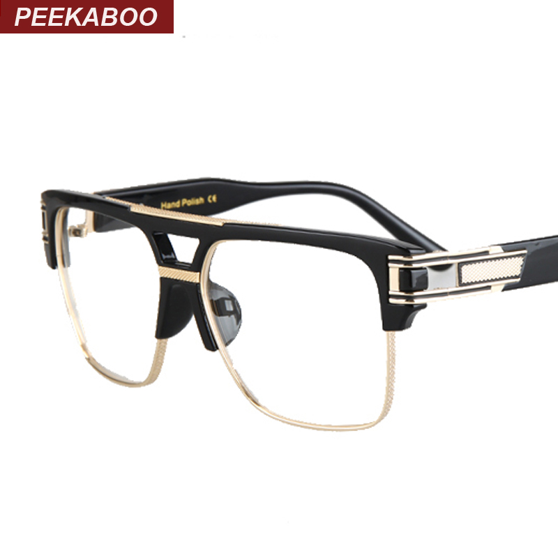 peekaboo wholesale 2016 mens spectacle frame optical brand black gold semi rimless big square glasses frames