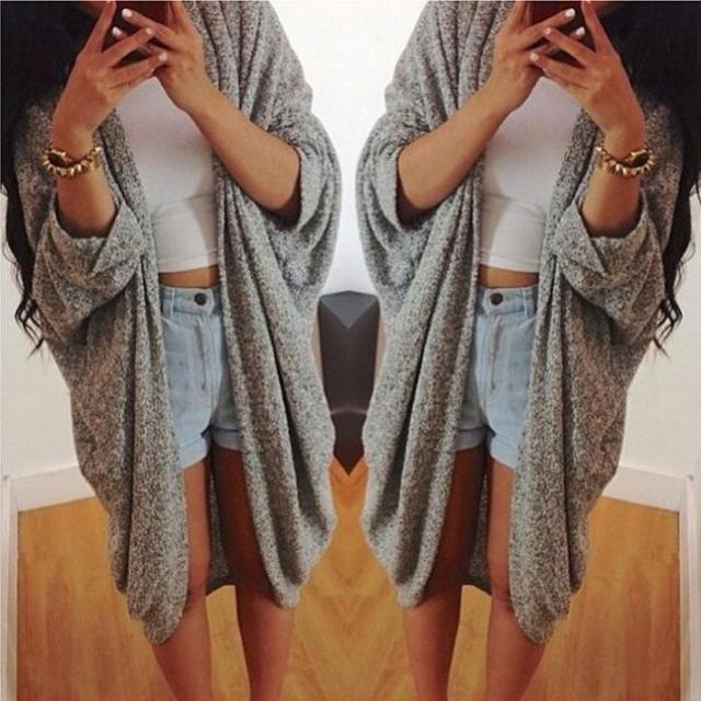 2016 New Fashion Long Sleeve Women Lady Girl Coat Bat Cardigan Shirt Summer Jacket Cardigan Loose Tops Blouse Outwear