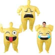 Felfújható arc Emoji jelmez Felnőtt Cosplay ruházat Vicces mosoly Cry Face Teljes test purim karnevál Halloween party jelmezek