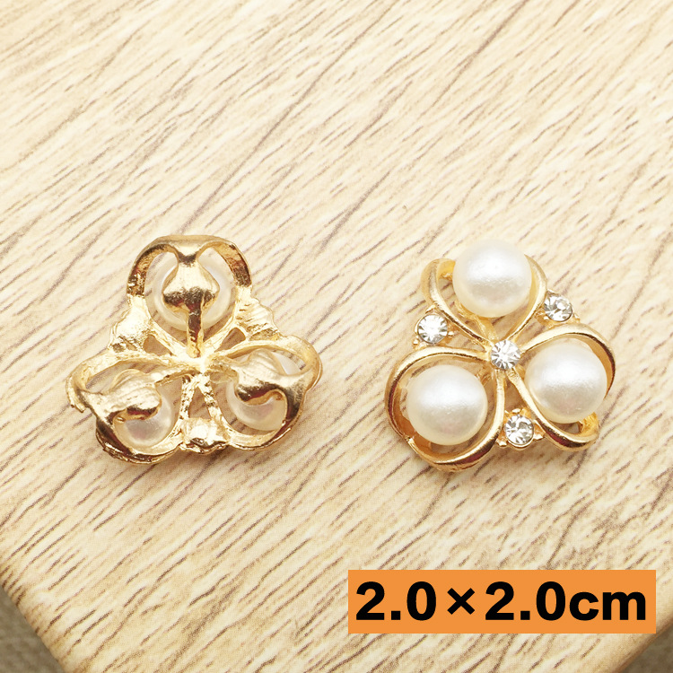 50pcs lot 0.78 Pearl Crystal Rhinestone flowers Button Flat back For  Wedding Party Dress Hair Accessories Phone Beauty 28dd07c09d53