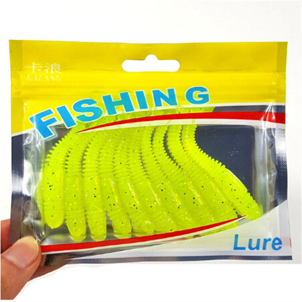 10 Pcs / Lot 8cm/3.15g Fishing Lure Artificial Soft Baits Silicone Baits Coils With Fishy Smell Threaded Carp Winter Fishing ...