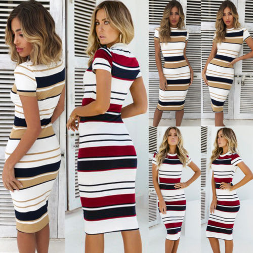 Womens Short Sleeve Bodycon Dress Ladies Summer Striped Dress Size 6-16 Hot Sale Fashion Ladies Round Neck 4